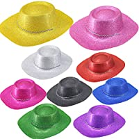 Time to Sparkle 4 Pack of Printed Cowboy Hat Unisex Gangster Style Plastic Party Hats for Kids Teens and Adult Fancy Dress Party Headwear Accessory