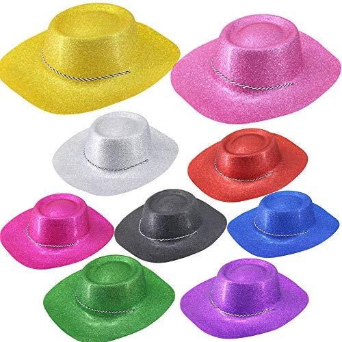24 Piezas Brillo Sombrero de Cowboy Vaquero Unisex Estilo Gángster Sombreros de Fiesta para niños Adolescentes Adultos Disfraces Sombreros Accesorios, Glitter Cowboy-Azul