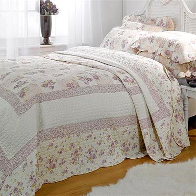 Emma Barclay Lille Patchwork 100% Cotton Quilted Bedspread Set, Lilac, Single