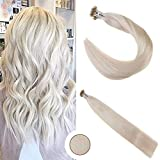 """Ugeat 16""""/40cm Nano Ring Extensions de Cheveux Naturel 50g 1g/s Non-transformes Bresilien Humains Tissage Naturel #60 Plus Leger Blond"""