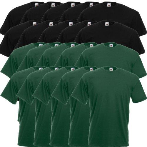 Fruit of the Loom Original Valueweight T Rundhals T-Shirt F140 5er 10er 15er 20er Pack 10 black 10x bottle green