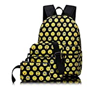 Leaper Emoji Sac à dos Scolaire Loisir Voyage Sac porté dos 3 en 1 Cartable Shoulder Messenger Bag Portefeuille School Backpack 3 in 1 Noir