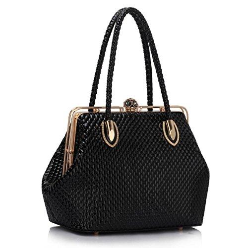 xardi London da donna in pelle sintetica da donna a tracolla doppia maniglia borsa tote, nero (Black), M