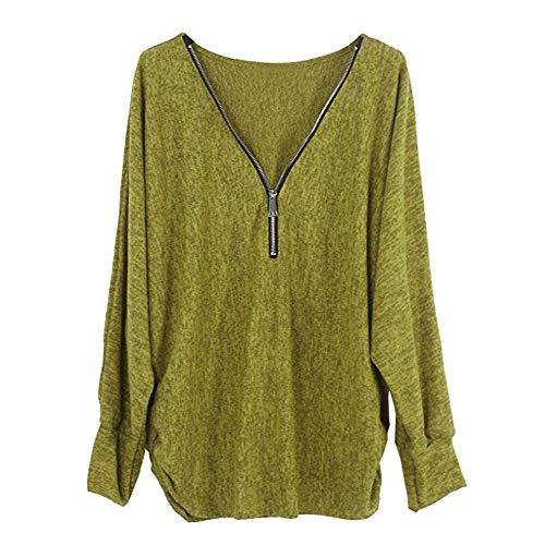 BHYDRY Frauen Langarm Knopf Bluse Pullover Tops Mit Taschen(EU-46/CN-XXL,Z-J-Gelb)