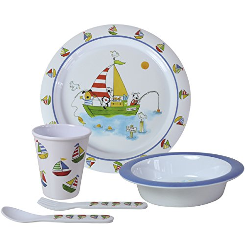 5 Teile Set Kindergeschirr aus Melamin Spülmaschinenfest - Kinder Geschirr 5-teilig Frühstücksset Kinderbesteck