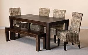 rattan massives mangoholz 6 esstisch set mit bank. Black Bedroom Furniture Sets. Home Design Ideas