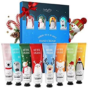 Luckyfine Crema de Manos, Set de Regalo de Crema de Manos, 8 x Crema de Manos Nutritiva con Vitamina C y E, Hidratante e…