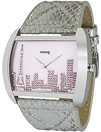 Moog Paris Skyline Reloj para Mujer con Esfera Rosa, Correa Plateada de Piel Genuina y Cristales Swarovski - M41882-004