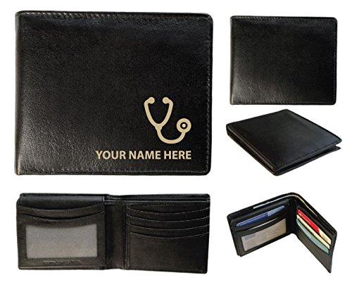 Personalisierte Herren-Geldbörse Leder-Laser markiert mit Ihrem Namen und Ärzte Stethoskop Design, schwarz, Sandringham