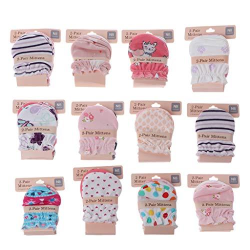 Vivitoch 2 Paar Fashion Baby Anti-Kratz-Handschuhe für Neugeborene Schutz Gesicht Baumwolle Kratzer Fäustlinge Gl