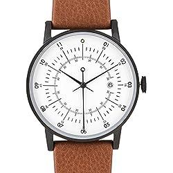 """squarestreet """"Plano"""" Edelstahl IP Matte Schwarz Swiss Quarz Datum Weiß Leder Braun Swedish Unisex Uhr"""