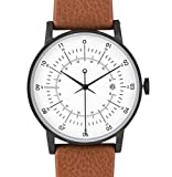 squarestreet Plano Edelstahl IP Matte Schwarz Swiss Quarz Datum Weiß Leder Braun Swedish Unisex Uhr