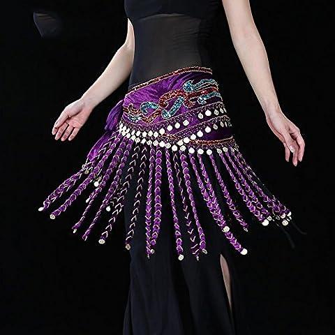 fait main femmes chaîne de taille egypte ventre danse echarpe de hanche tribal écharpes emballage tribal tassels pièce d'or ceinture de jupe . purple . one size
