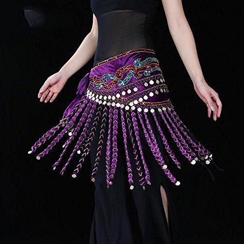 handgefertigt frau taillenkette ägypten bauch tanzen hüftschal stammes- schals wickeln stammes- quasten goldmünze rock gürtel . purple . one size