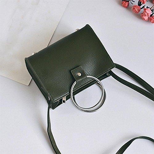 Satchel singolo della spalla, Longra Donna Sacchetto quadrato a forma di anello Verde