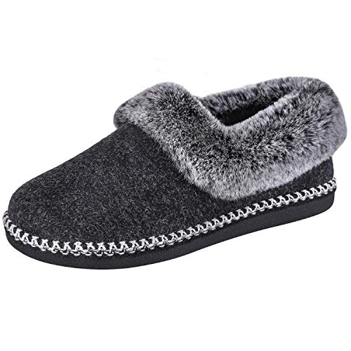 EverFoams Ladies Wool Slippers with Fluffy Faux Fur Collar and Handmade Lace Decor