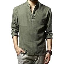 half off 7e439 0f0f5 camicia lino uomo coreana - Verde - Amazon.it
