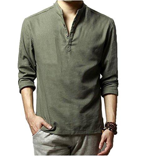 HOEREV Marke Men Casual Langarm-Leinen Shirts Strand-Hemden-  Gr. XXL Brust 106-110cm DE54, Farbe: Grün