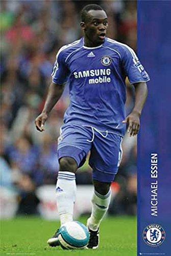 Fußball - Chelsea, Michael Essien - Sport Poster Fußball Fussball - Grösse 61x91,5 cm + 2 St Posterleisten Holz 61 cm