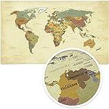 beneart® Weltkarte Vintage - Poster XXL - Weltkarte alt - Retro Motiv - Landkarte Poster groß - Geschenkidee - Weltkarte Wandbild - 140 x 82 cm, Material:FineArt Poster