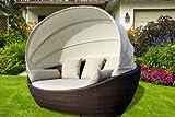 Exklusive Luxus Lounge Sonneninsel Paradiso Polyrattan Braun inkl. Auflage & Kissen