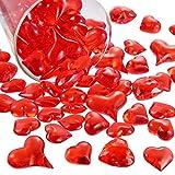 Bememo Acrilico Cuore 1.1 LB Plastica Gemme Tavolo Scatter Decorazione Multi-Stili per San Valentino Regali Decorazioni Vaso Riempitivo (Rosso, 168)