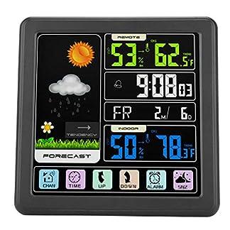 Garsent Estación meteorológica inalámbrica con Pantalla a Color, Pantalla táctil, pronóstico del Tiempo inalámbrico con Alarma, Temperatura y Humedad, Reloj para Interior y Exterior