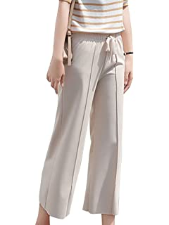 Guiran Pantalon Femme Jambe Large Palazzo Confort Taille Élastique 7b19b5f4aae