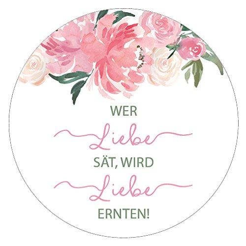 48 x Aufkleber Hochzeit Blumensamen Gast Rosa Gastgeschenk Etikett