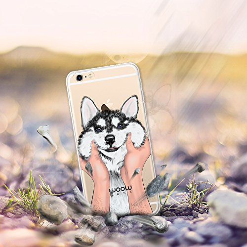 iPhone 6 Plus | 6S Plus Hülle, WoowCase® [Hybrid] Handyhülle PC + Silikon für [ iPhone 6 Plus | 6S Plus ] Husky-Hunde Sammlung Tier Designs Handytasche Handy Cover Case Schutzhülle - Transparent Hybrid Hülle iPhone 6 Plus | 6S Plus H0014