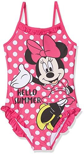 Disney Mädchen Badeanzug Minnie Mouse, Pink (Fushia 18-2436TC), 8 Jahre