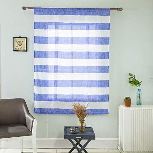Bingpong Hohe Qualität Blau Grau Streifen Römischen Vorhang Jalousien Vorhänge für Küche Balkon Schlafzimmer Wohnzimmer (Blau)