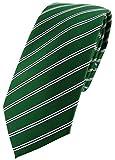 TigerTie schmale Designer Krawatte in grün smaragdgrün schwarz weiß gestreift