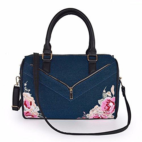 GAOQIANGFENG Denim Bestickte Kissen Tasche,Navy Blue (Blue Denim Kissen)