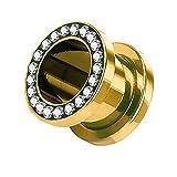 Piercingfaktor Flesh Tunnel Schraub Plug Ohr Piercing Edelstahl Titan mit Schraubverschluss Zirkonia Kristallen Strass Steinen 5mm Gold