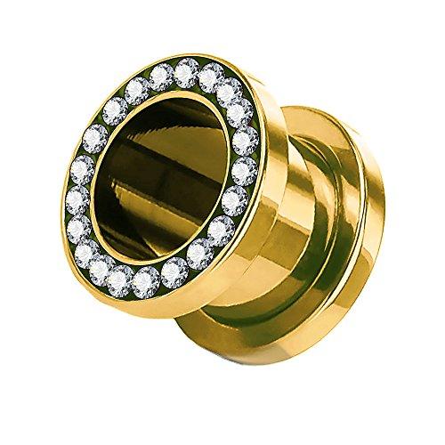 Piercingfaktor Flesh Tunnel Schraub Plug Ohr Piercing Edelstahl Titan mit Schraubverschluss Zirkonia Kristallen Steinen 4 mm Gold