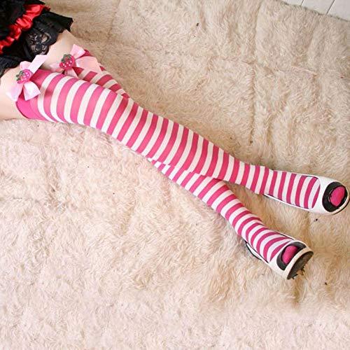 Bogen Gestreifte Strümpfe (SUZNUO Kniehohe Socken Mädchen Gestreifte Kniestrümpfe Lolita Overknee Lange Socken Gestreifte Strümpfe mit Bogen)