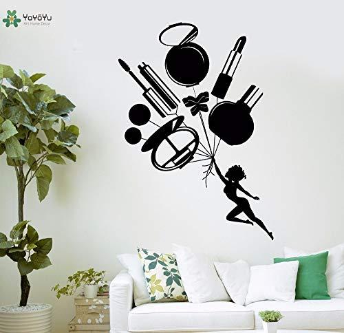 zxddzl Vinyl Wandtattoo Lippenstift Spiegel Parfüm Kosmetik Salon Interior Art Home Decoration Aufkleber 102x72cm (Home Interior Rahmen, Dekorationen)