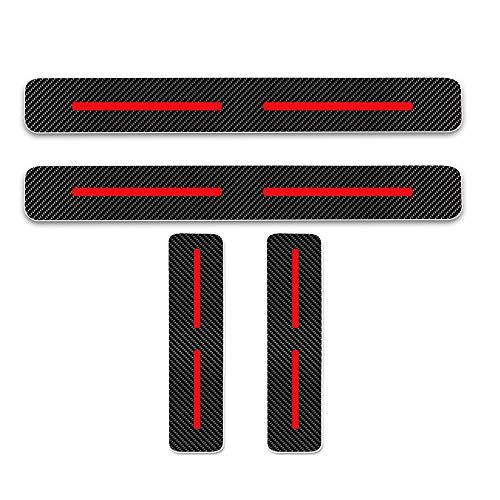 Cobear Einstiegsleiste Schutz Aufkleber Reflektierende Lackschutzfolie für i10 i20 iX20 i30 i40 i80 Tucson Genesis Santa FE Einstiegsleisten Rot 4 Stück