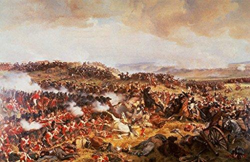 Kunstdruck/Poster: Felix Henri Philippoteaux Die Schlacht von Waterloo - hochwertiger Druck, Bild, Kunstposter, 70x45 cm