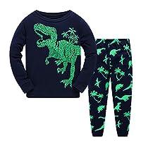 Little Boys Pyjamas Set Dinosaur Toddler Kids PJS Sets Christmas Long Sleeve Nightwear Cotton Clothes 2 PCS Sleepwear Age 1-7 Years