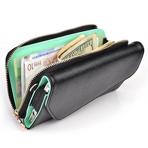 Kroo d'embrayage portefeuille avec dragonne et sangle bandoulière pour COACH PRUNE Plus Black and Blue Black and Green