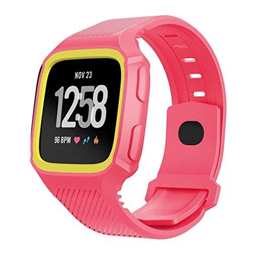 squarex Rugged Schutzhülle mit Silikon Handschlaufe Bands für Fitbit Versa Armbanduhr, damen, Pink+Yellow, AS - Für Kratzer-entferner Iphone