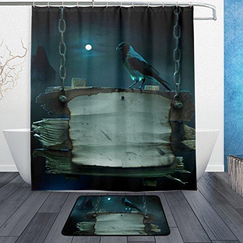 y 3-teiliges Badezimmer Set, maschinenwaschbar für den täglichen Gebrauch, inkl. 152,4x 182,9cm Wasserdicht Duschvorhang, 12Dusche Haken und 1rutschfeste Badezimmer Teppich Carpet–Set von 3 (Halloween-partys College)