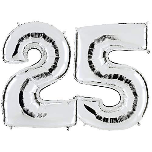 Zahl 25 in Silber | XXL Riesenzahl 100cm 40