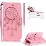Samsung S3 case,SKYXD PU Premium Leather Wallet Case [With Wrist Strap],Bling Diamond Crystal Luxury Flip Folio Kickstand with Card Slots Emboss [Pink - Dreamcatcher] pattern Design Protective Book Case Cover for Samsung S3 + Black Stylus + Black Owl Dust Plug
