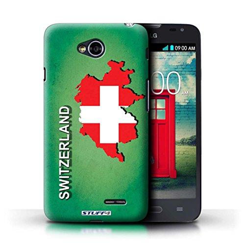 Kobalt® Imprimé Etui / Coque pour LG L70/D320 / Suisse/Swiss conception / Série Drapeau Pays Suisse/Swiss