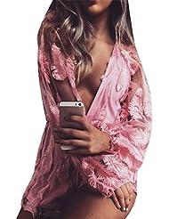 Mujer Jumpsuit Corto Fiesta Cuello En V Manga Larga Clubwear Pantalón Corto Pink S