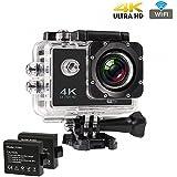 Sports Action Camera 4K, CrazyFire Action Cam WiFi, Ultra Full HD 16MP Helmkamera Skifahren 170 Grad Weitwinkelobjektiv Wasserdichte mit 2 Batterien, Zubehör Kits