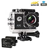 Action Kamera Wasserdicht 4K, CrazyFire Action Cam WiFi, Ultra Full HD 16MP Helmkamera Skifahren 170...